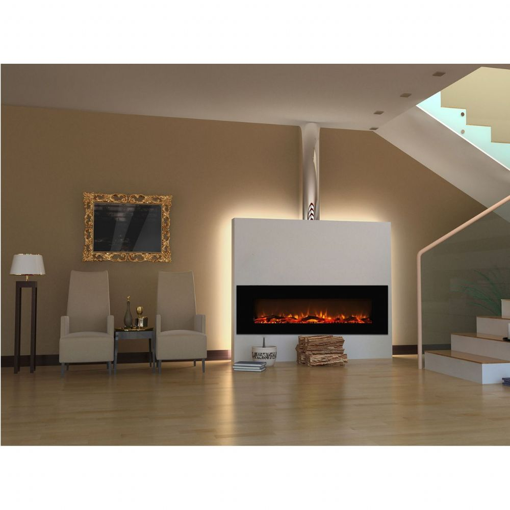BRANDED  60 Inch LED Black Wall Mounted Electric Fire